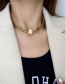 Fashion Gold Color Metallic Double Lock Necklace