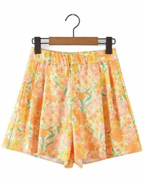 Fashion Yellow Flower Printed Elasticated Shorts