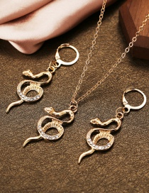 Fashion Gold Color Set Of Rhinestone Serpentine Necklace And Earrings