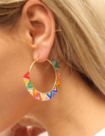 Fashion Color Rice Bead Woven Colorful Hoop Earrings