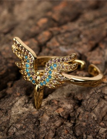 Fashion Gold Color Angel Wings Colorful Zircon Wing Ring