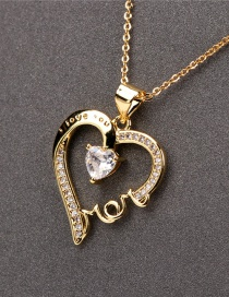 Fashion Gold Color Love Heart Inlaid Zircon Mom Letter Necklace