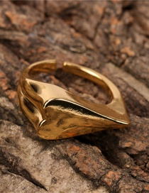 Fashion Gold Color Gold-plated Copper Open Heart Ring
