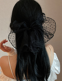 Fashion Black Double Bow Pearl Hairpin