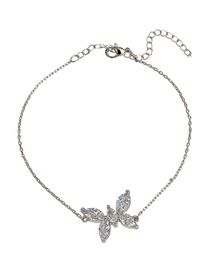 Fashion Silver Color Necklace Zircon Butterfly Necklace