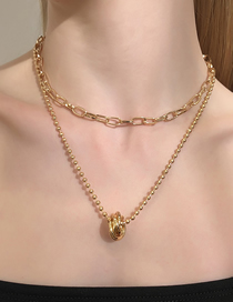 Fashion Gold Color Round Bead Alloy Geometry Double Necklace