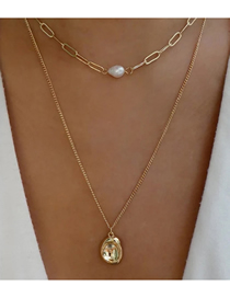 Fashion Gold Color Pearl Pendant Multilayer Necklace