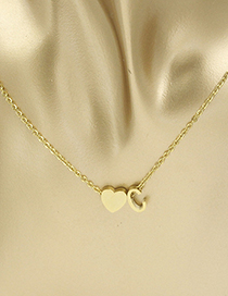 Fashion Golden Heart C Stainless Steel Peach Heart+abca-z English Alphabet Perforated Necklace