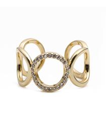 Fashion Golden Full Diamond Micro-inlaid Open Chain Ring