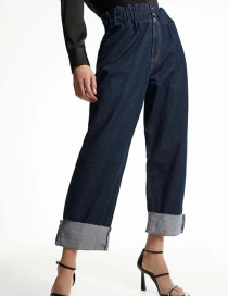 Fashion Navy Blue Pleated Jeans