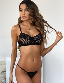 Fashion Black Lace See-through Underwear Set