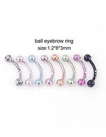 Fashion Spherical Eyebrow Nails (mixed Colors 8 Pcs/set) Painted Spherical Stainless Steel Body Piercing Jewelry