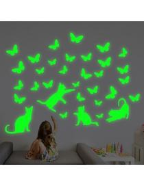 Fashion 20*30cm Luminous Cat Catching Butterflies Fluorescent Wall Sticker