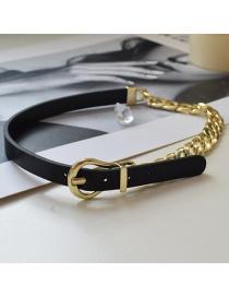 Fashion Black Stitching Chain Belt Buckle Necklace
