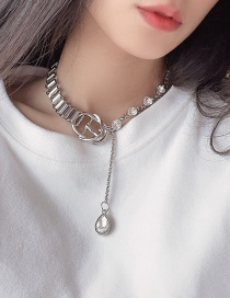 Fashion Silver Color Metal Chain Stitching Rhinestone Belt Buckle Necklace