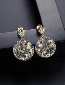 Fashion Color Golden Copper Inlaid Zircon Earrings