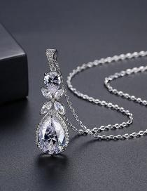 Fashion Platinum Drop-shaped Diamond Pendant Necklace