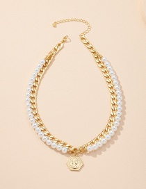 Fashion Pearl Necklace Pearl Portrait Multilayer Necklace