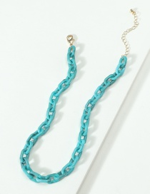 Fashion Blue Resin Chain Necklace