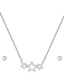 Fashion Silver Five-pointed Star Necklace And Earrings Set