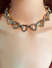 Fashion Golden Alloy Heart-shaped Hollow Chain Necklace
