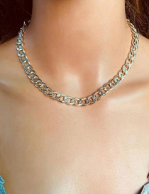 Fashion Golden Short Frosted Metal Chain Necklace