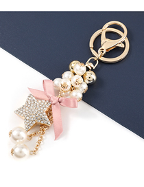 Fashion White Alloy Diamond-studded Five-pointed Star Pearl Pendant