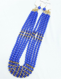 Fashion Blue Round Bead Chain Geometric Earrings Chain Necklace Set