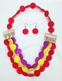 Fashion Red Disc Flower Earrings Necklace Set
