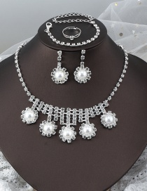 Fashion Silver 1 Four-piece Set Of Full Diamond Necklace Earrings Bracelets And Rings