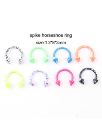 Fashion Pointed Cone Horseshoe Ring (mixed Colors 8 / Set) Snowflake Dot Painted Pointed Cone C-shaped Nose Ring