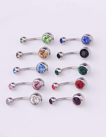 Fashion Ab Color Piercing Stainless Steel Body Belly Nail Abdomen Double Drill Belly Button Nail Umbilical Ring