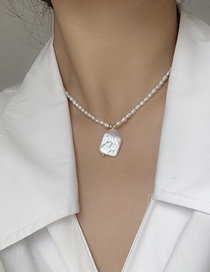 Fashion Square Pendant Freshwater Pearl Moon Necklace
