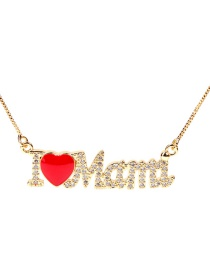 Fashion Golden-mama Red Heart English Mama Letter Necklace