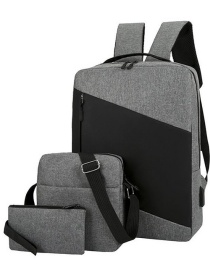 Fashion Gray Backpack Laptop Bag 15.6-inch Large-capacity Three-piece Suit