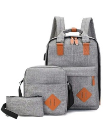 Fashion Gray Three-piece Computer Backpack With Logo On Both Shoulders