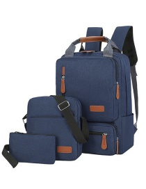 Fashion Navy Blue Backpack Three-piece Computer Bag