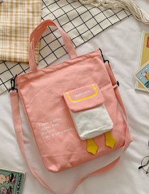 Fashion Pink Canvas Crossbody Large Capacity One-shoulder Backpack