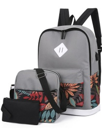 Fashion Gray Three-piece Printed Backpack