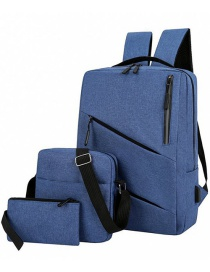 Fashion Navy Blue Shoulder Large Capacity Three-piece Computer Bag