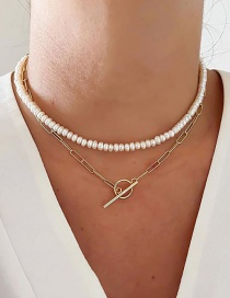 Fashion Golden Double-layer Pearl Chain Ot Buckle Necklace