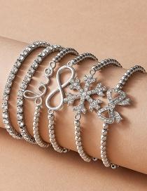 Fashion Silver Bead Chain Snowflake Bow Letter Bracelet Set
