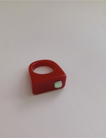 Fashion Red-19# Resin Candy Color Ring