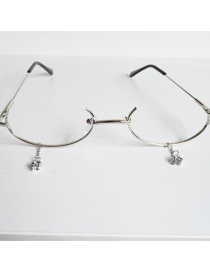 Fashion Silver With Glasses With Drop Chain Glasses