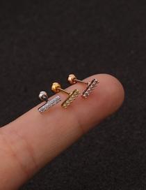 Fashion Rose Gold 1# Stainless Steel Zircon Cherry Earrings Single