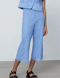 Fashion Blue Lace Wide Tube Cropped Trousers