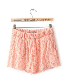 Fashion Orange Elasticated Full Lace Shorts