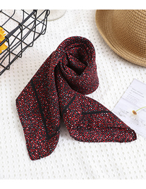 Fashion Red Wine Printed Small Floral Square Scarf