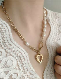 Fashion Necklace (titanium Steel) Thick Chain Pearl Stitching Hollow Peach Heart Necklace