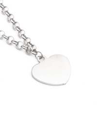 Fashion Love 40cm Chain Titanium Steel Rhinestone Tree Of Life Peach Heart Necklace